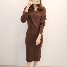 a28ae651fb8 2018 nouvelles femmes automne hiver pull tricoté robes Slim élastique col  roulé à manches longues Sexy dame Robe robes