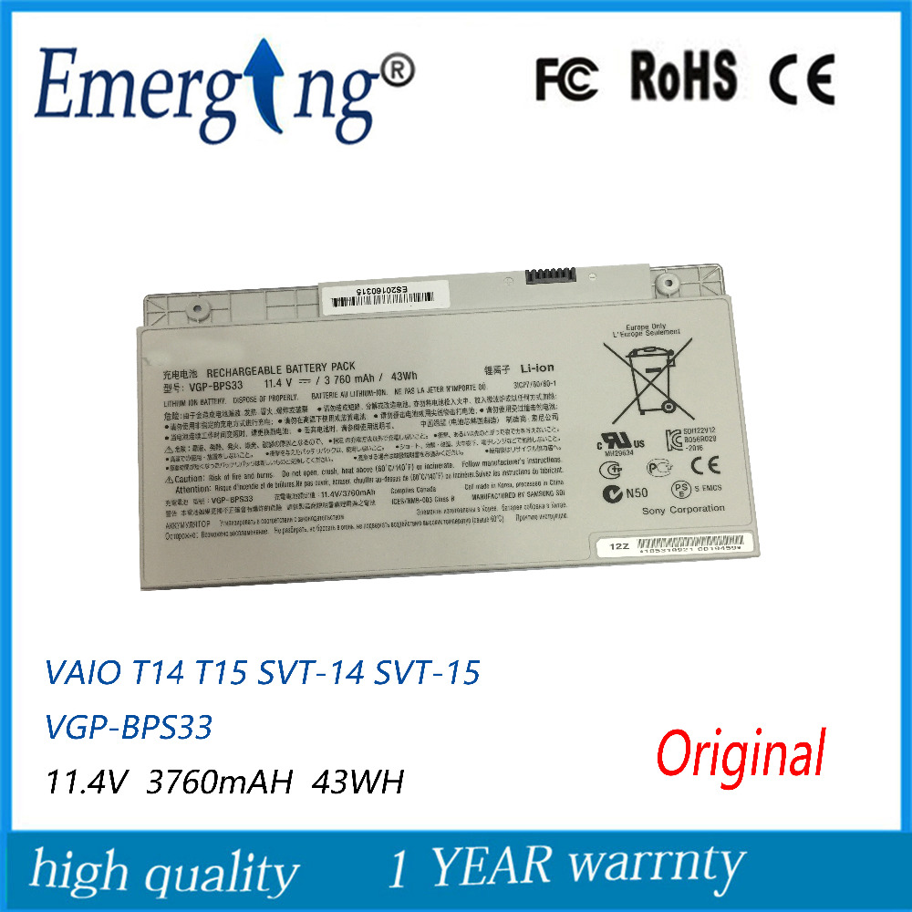 11.4V 43WH New Original Laptop Battery For SONY VGP-BPS33 VAIO SVT-14 SVT-15 T14 T15 BPS33 Touchscreen Ultrabooks ...