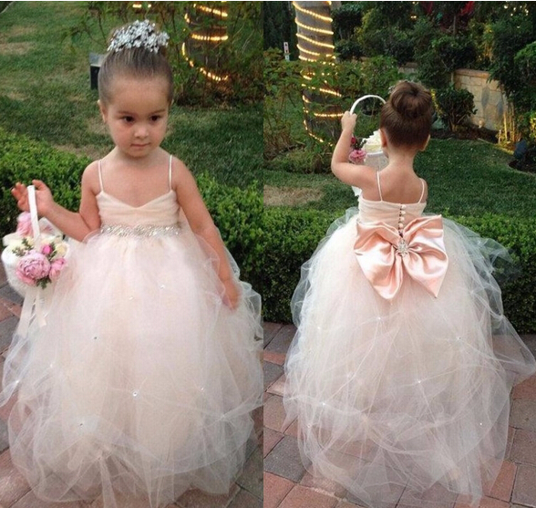 Ball Gown Flower Girl Dresses with Bow Spaghetti Straps Ball Party Pageant Dress for Wedding Little Girls Kids/Children Dress
