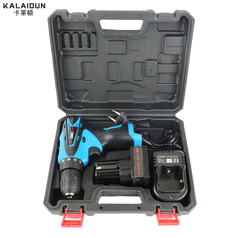 25 V Elektrische Drill Mobilen Power Tools Elektrische Screwdrive Lithium-Batterie Schnurlose Schlagbohrmaschine Mit Extra Toolbox