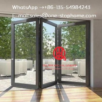 Australian Standard Aluminium Double Glass Sliding Folding Door For Entrance,Sound Reduction Aluminum Bi-folding Door