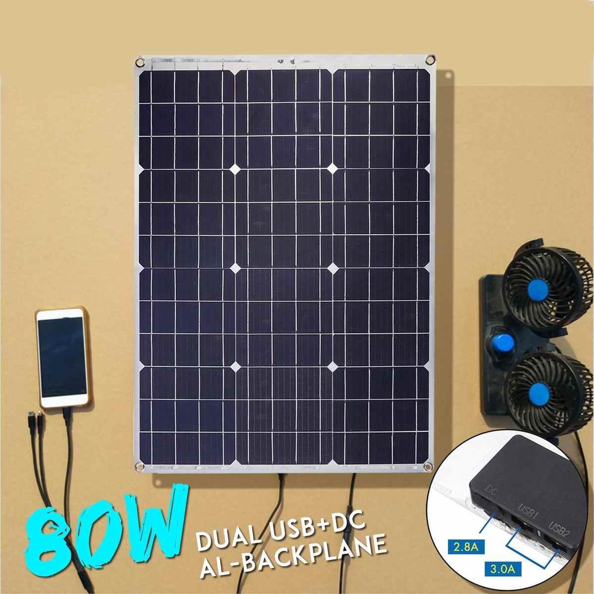 Paneles de Panel Solar duraderos de 80W doble USB interface12V/5 V Módulo de células solares para coche de yates cargador de luz Led para barcos al aire libre