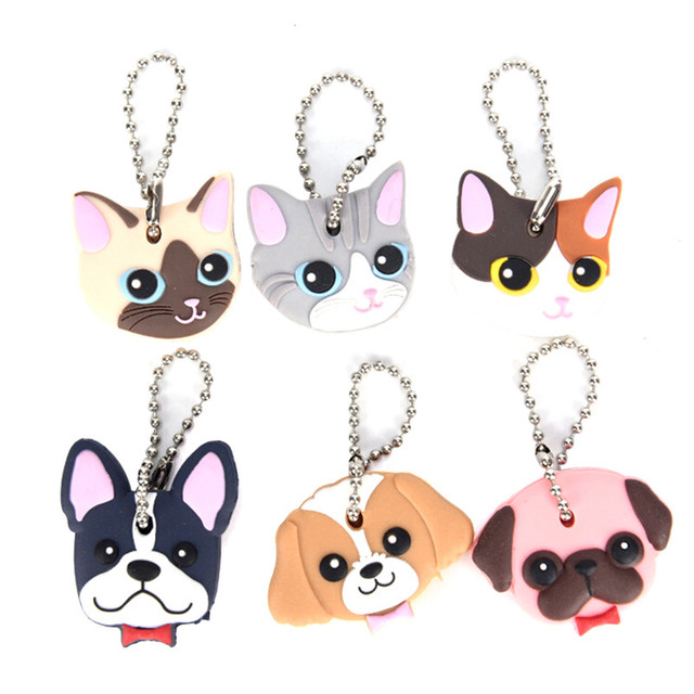 1 Pc Silicone Key Ring Cap Head Cover Keychain Case Shell Cat Hamster Shih Tzu Pug Dog Animals Shape Lovely Jewelry Gift 1