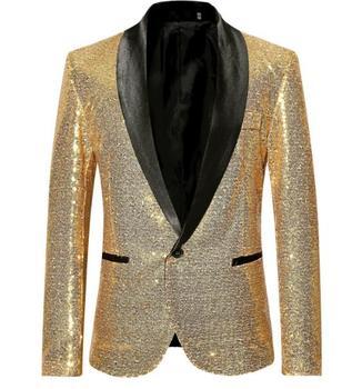 2019 nuevos hombres de gran tamaño de lentejuelas traje un botón hombre europeo americano oro vestido ropa de la chaqueta