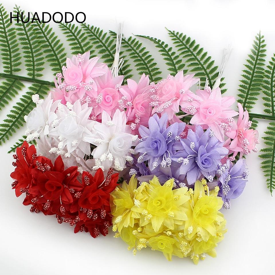 HUADODO 6pcs mini silk flowers Artificial flower buds bouquet for Wedding Decoration Scrapbook DIY craft Fake flowers