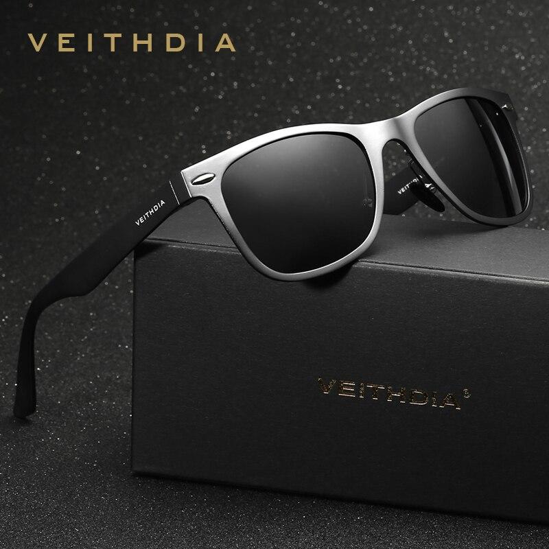 VEITHDIA Aluminum Magnesium Retro Polarized Sunglasses Unisex Square Mirror vintage Sun Glasses for Men Women Oculos