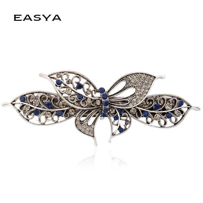 EASY Elegant Hairpin Series 2 Färger Crystal Charming Barrettes Hair Clip Women Headwear Accessoarer Girls Fashion Hair Smycken