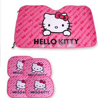 Car umbrella Window Foils Car Covers Pink Hello Kitty Car Front Side Window Sunshade Sunshades Auto Windshield cover 5pcs/set