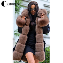 купить CKMORLS New Real Fur Parkas For Women Winter Jacket With Fur Collar Natural Fox Fur Coat Thick Warm Long Outwear Fashion Parka дешево
