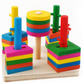 1Set Creative High-quality DIY Wooden Assembling Children's Five Pillar Suit Blocks Educational Intelligence Baby Kids Toy Gifts