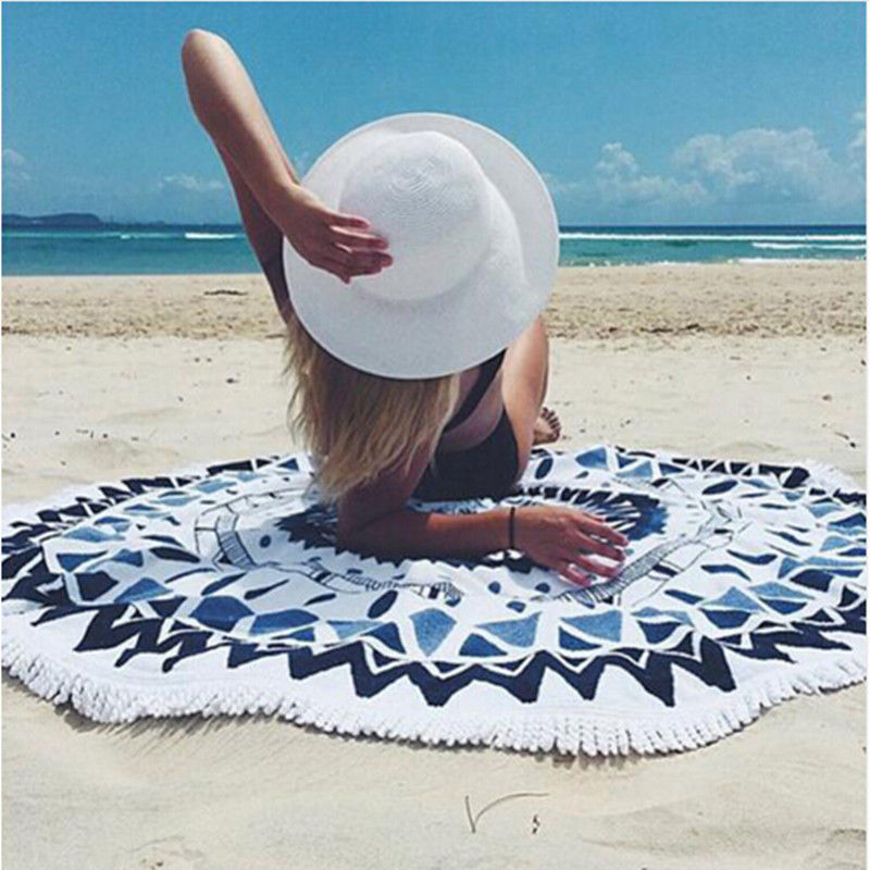 Serviette de plage ronde en microfibre 150 cm serviettes de bain gland imprimé géométrique été