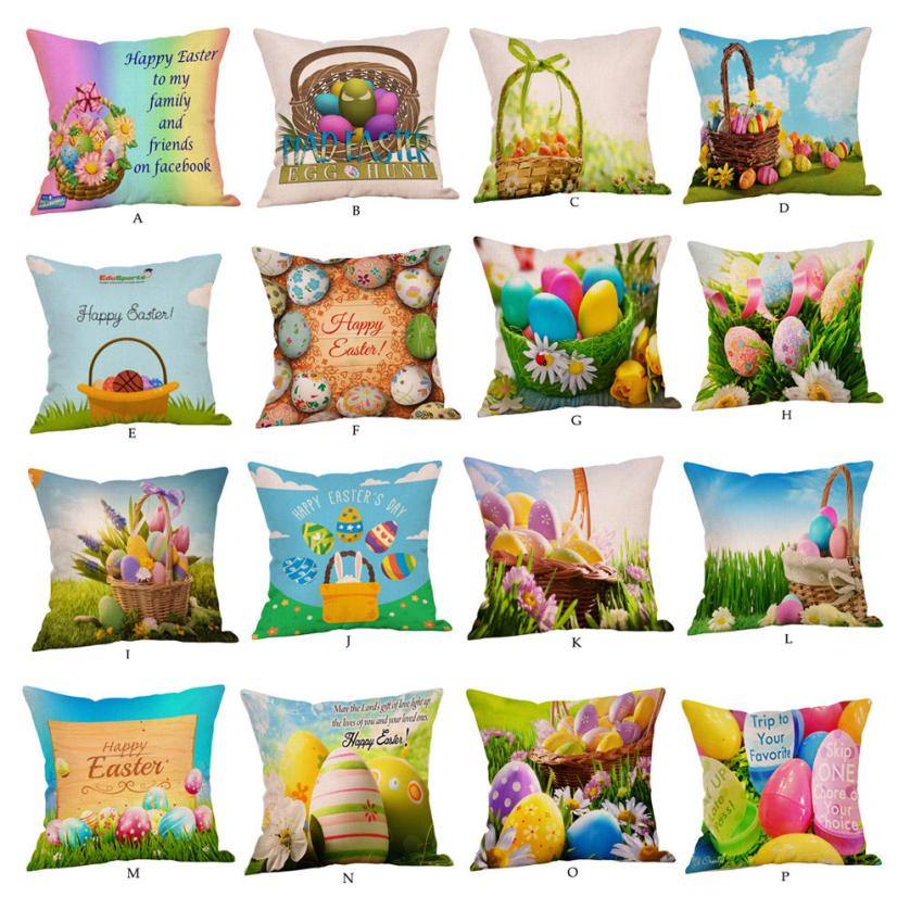 Candles & Holders Home Decor Knitted Colored Eggs Retro Charming Rabbit Cushion Cover Cartoon Settee Large Printed Home Decor Crowe Happy Easter Pillow Case Comfortable And Easy To Wear