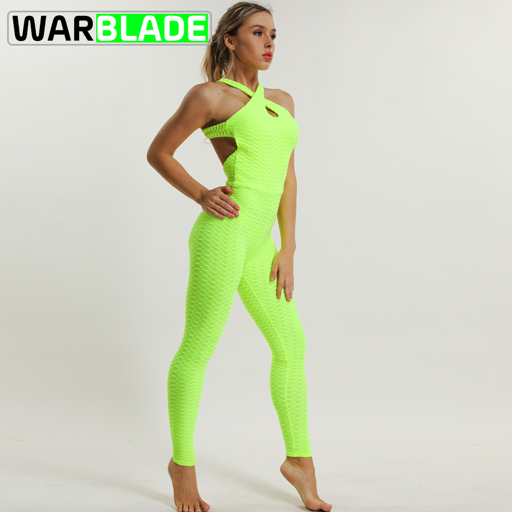 WarBLade Cross Criss Tracksuit for Women 2018 Running Sport Suit Fitness Clothing Athleisure Siamese Yoga Set Sportswear Sale