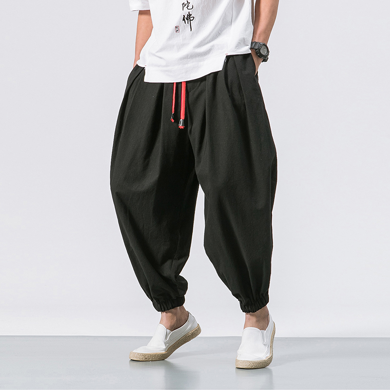 2020 Japanese Mens Youth Popular Patchwork Simple Feet Harlan Casual Pants Loose Chinese Style Male Trousers Sweatpants Men