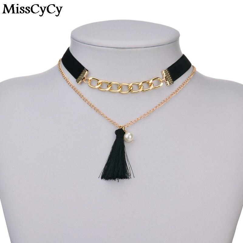 ceb6e08102412 MissCyCy 3 ألوان الأزياء المخملية الجلد المدبوغ المختنق قلادة الذهب اللون سلسلة  قلادة النساء شرابة تقليد اللؤلؤ قلادة قلادة