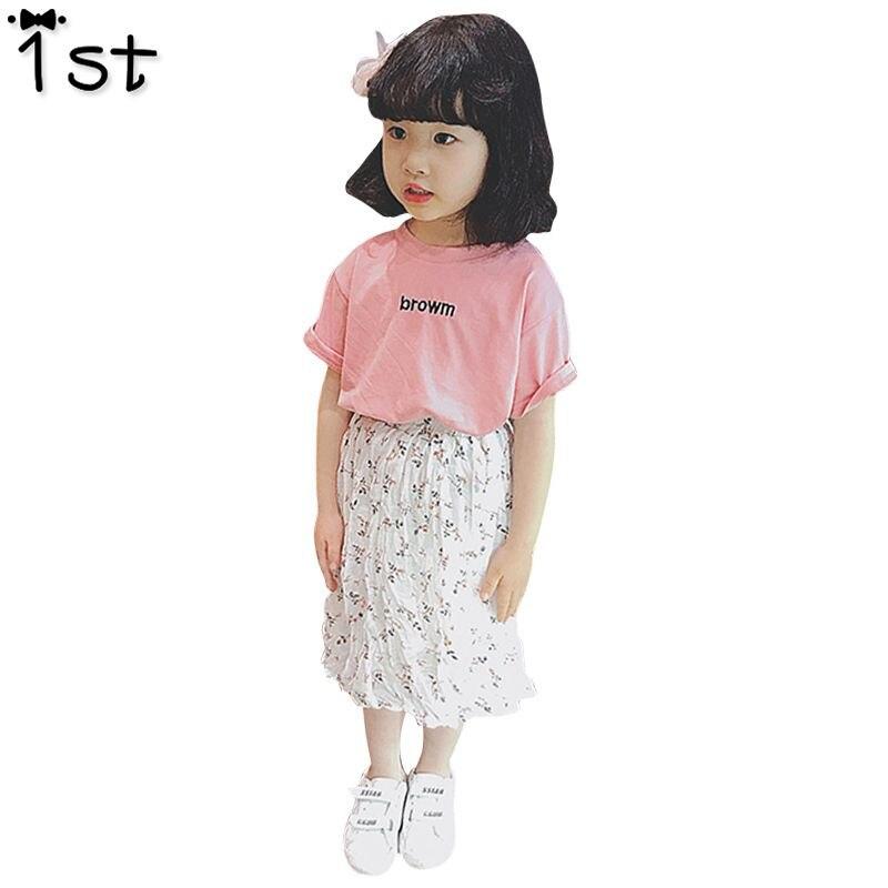 1st 2018 Zuid-koreaanse Meisjes In De Zomer Pak Kinderen Han Editie 2 Letters Korte Mouw T-shirt Verpletterd Een Rok Pak Xt357 We Nemen Klanten Als Onze Goden