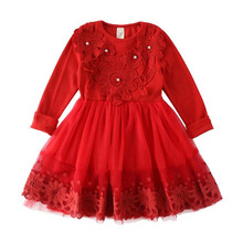 цена на DFXD Toddler Dress 2018 Spring Long Sleeve Soild Lace Princess Dress Children Girl Clothing Cake Dress Baby Costumes 2-8Years