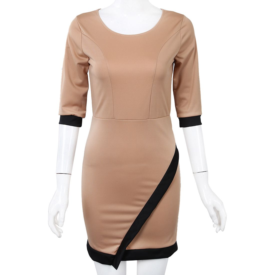 New Fashion Women Casual Mini Dress Summer Knitted Clothing Lady ClubWear Khaki S