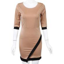 Новые модные женские туфли Повседневное мини платье Лето вязаная одежда леди Клубная одежда хаки S
