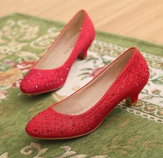 Low heel fashion pumps shoes woman red silver crystal rhinestones party dess pumps shoes TG1457 ladies bridal wedding pump shoes