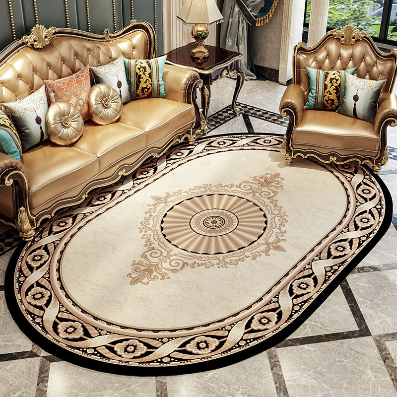 European Palace Oval Living Room Carpet Home Decor Bedroom Carpet Thick Polypropylene Rug Sofa Coffee Table Area Rugs Floor Mat