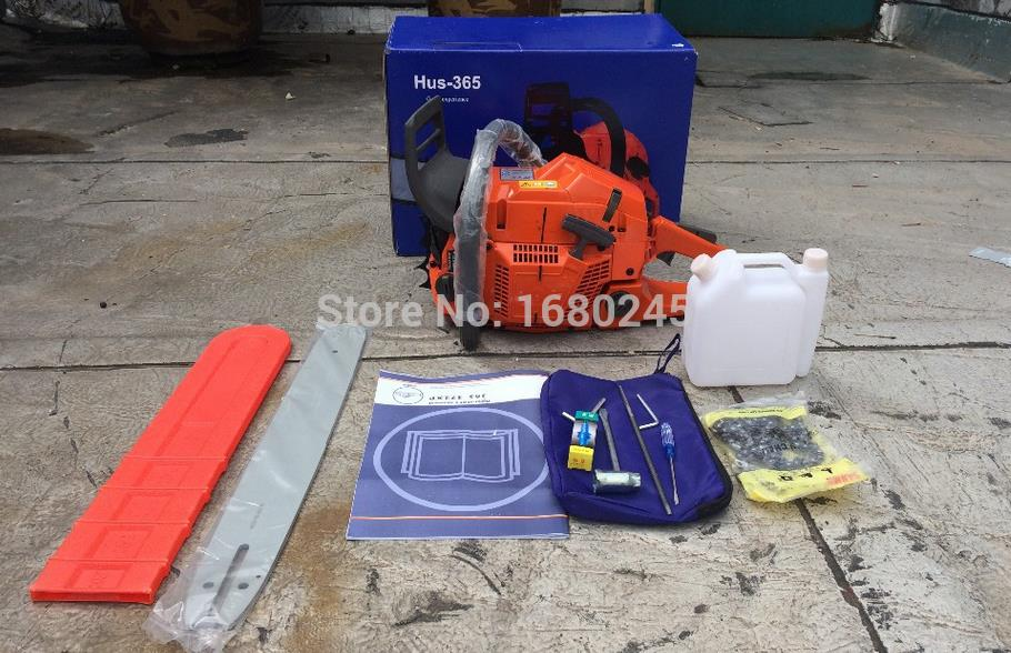 Gasoline chainsaw HUS365 Gasoline CHAIN SAW ,65CC 3.4kw CHAIN SAW, Heavy Duty Chainsaw with 18Blade new gasoline chainsaw 5 0l 25 1 50 1 40 1 20 1 fuel mixing bottle sx113