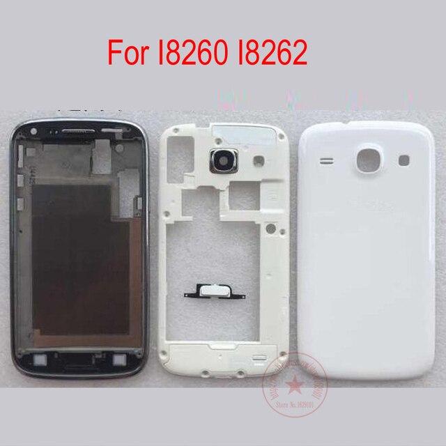 Белый/Синий Передняя и Середина Корпус + Крышка Батарейного Отсека Рамка Рамка Двери + Кнопки Полный Жилищно Для Samsung Galaxy Core I8260 I8262