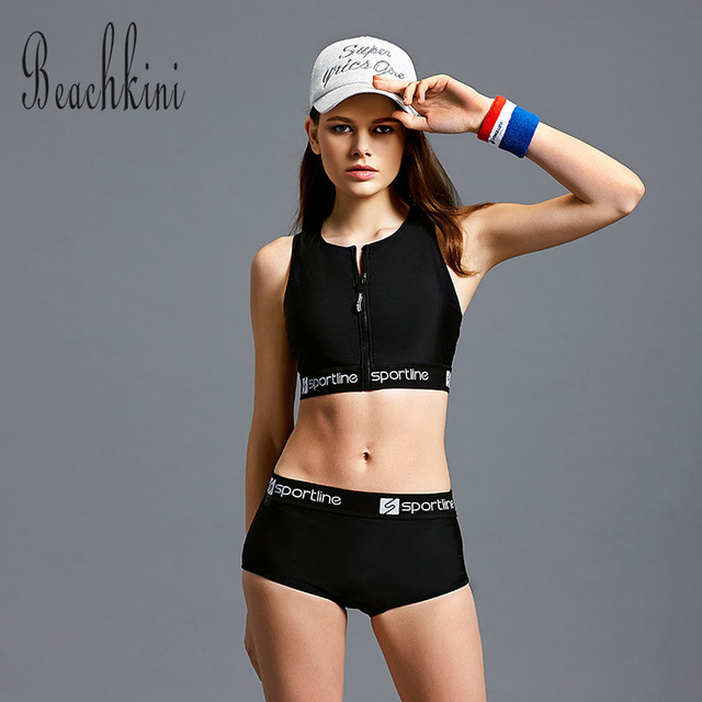 896c577b98394 Crop Top Swimwear Women Sport Tankini Set 2019 Zipper Vest Swimsuit Beach  Bikini Boxer Shorts Yoga Bathing Suit