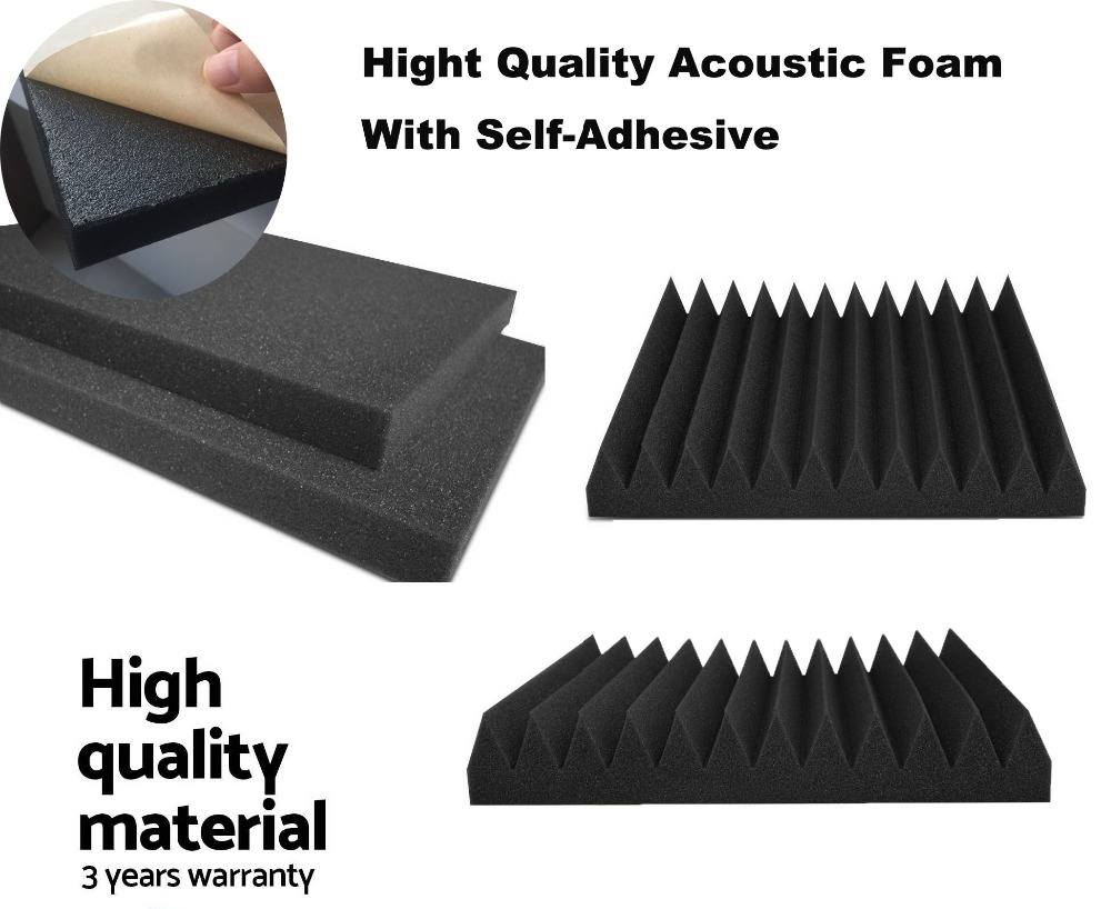 6 Pcs Soundproofing Acoustic Wedge Foam Tiles Wall Panels 30*30*5cm with Self Adhesive