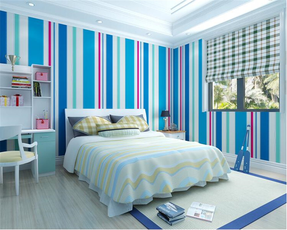 beibehang Children room papel de parede 3d wallpaper non-woven boy girl girl wall paper living room simple thickening stripes beibehang pure non woven wallpaper fresh korean style small floral wall paper bedroom living room children s room papier peint