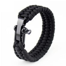 цена на Camping Metal Buckles Adjustable Rope Outdoor Survival Hiking Rescue Bracelets Parachute Cord Men Emergency Buckle 5Color