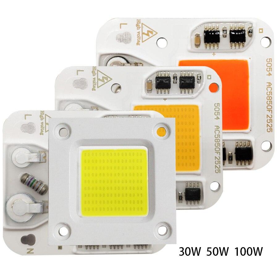 30W 50W 100W LED COB Chip AC 110V 220V 230V Smart IC DIY LED Beads For LED Floodlight Spotlight Warm White Cold White Grow Light
