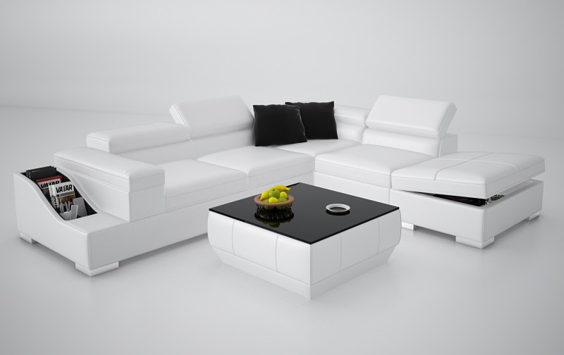 white l shape couch