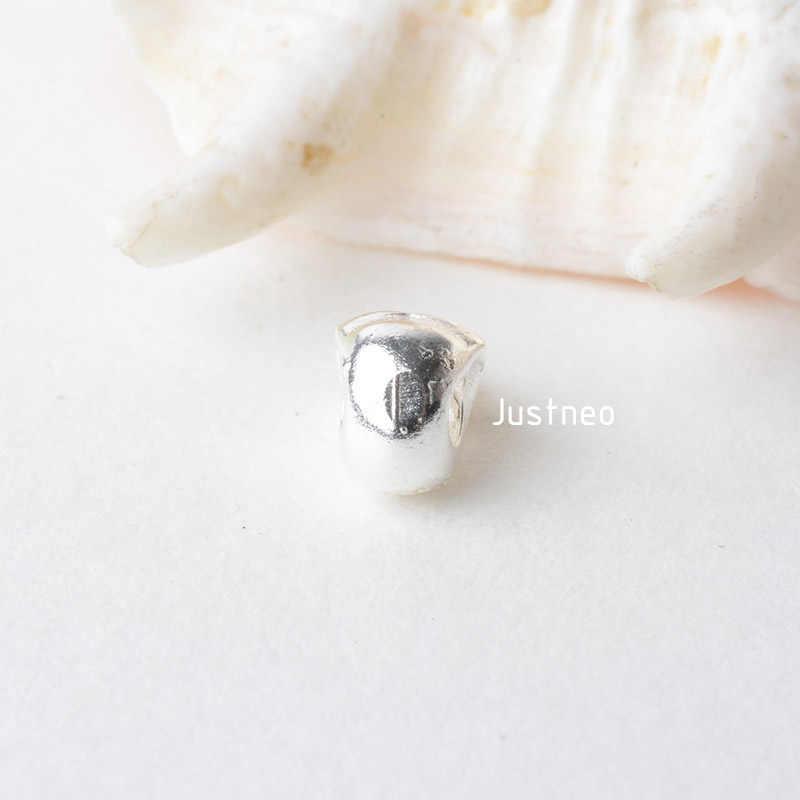 Solidna 925 Sterling srebrna czaszka Charm koralik, srebrna podkładka dystansowa luźny koralik z 2mm otworem biżuteria akcesoria do majsterkowania