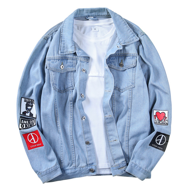 Men Stylish Loose Denim Jacket Cowboy Slim Fit Bomber Outwear Jacket Denim Coat Clothing Men's Jean Jacket Hip Hop Print Coat