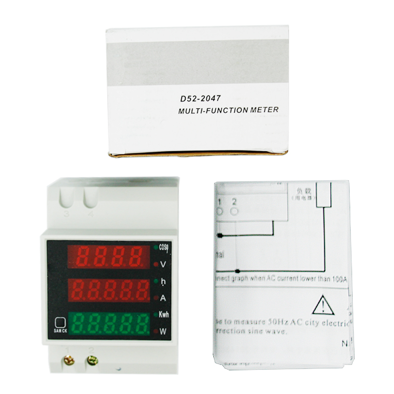 купить D52-2047 Digital Rail Type Multifuction Power current voltage Meter Voltmeter Ammeter Energy Meter AC80-300V AC 0-100A по цене 913.39 рублей