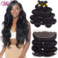 Ear To Ear Lace Frontal Closure With Bundles Peruvian Virgin Hair Body Wave With Closure Human Hair Lace Frontal With Baby Hair
