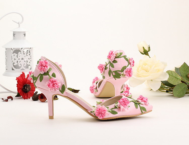 Pink fresh flower 7cm high heeled bridal shoes wedding shoes silks and satins thin heels formal