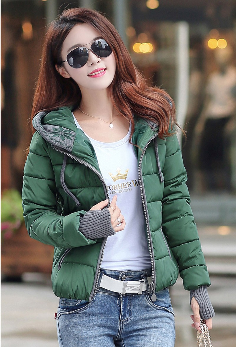 Women Winter Coat Long Sleeve Print Floral Hooded Slim Winter Parka Plus Size Cotton-Padded Jackets 2XL (11)