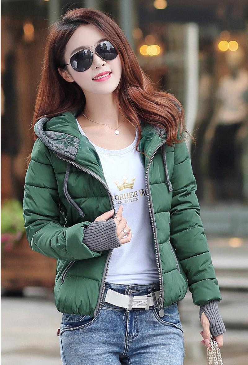 Women Winter Coat Long Sleeve Print Floral Hooded Slim Winter Parka Plus Size Cotton-Padded Jackets 2XL (11)