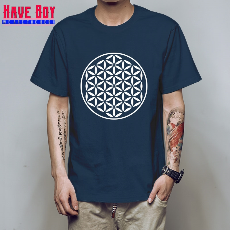 Tee Shirt Black Men Sacred Geometry Unique Hop Short Sleeves Online Cloth Size No Buckle ...