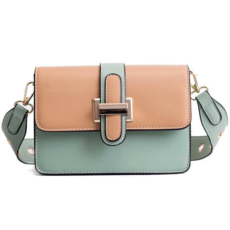 Panelled Women Handbag Pu Leather Expanding File Organ Bag Female Shoulder Bag Wide Strap Lady Flap Hit Color Bolsa Feminina Sac