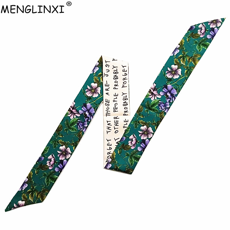 Leaves Floral Print Bag Scarf 2019 New Luxury Brand Skinny Silk Scarf For Women Head Scarf Long Handle Bag Scarves Wraps