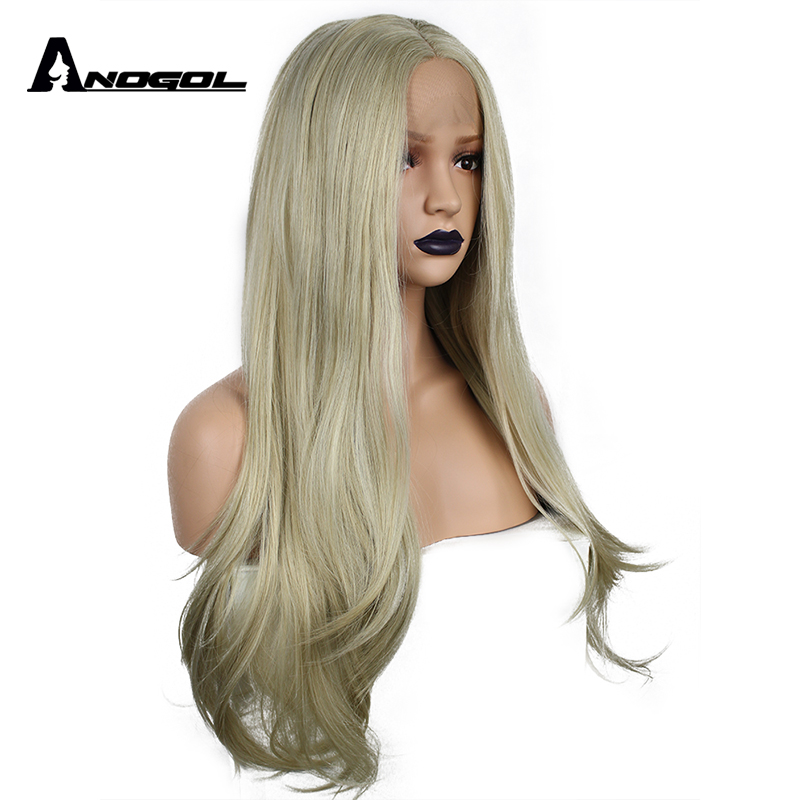 Anogol High Temperature Fiber Perucas Frontal 613 Wigs Blonde Long Natural Wave Synthetic Lace Front Wig For Women Cosplay