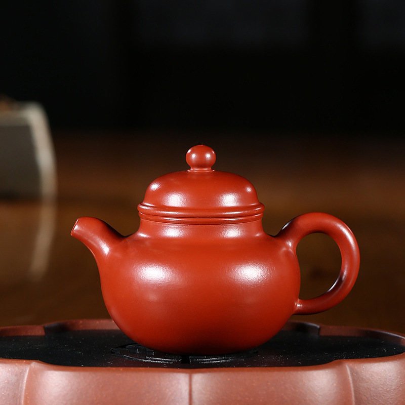 Yixing recommended authentic masters all hand undressed ore dahongpao Duo ball pot of kung fu tea tea setYixing recommended authentic masters all hand undressed ore dahongpao Duo ball pot of kung fu tea tea set