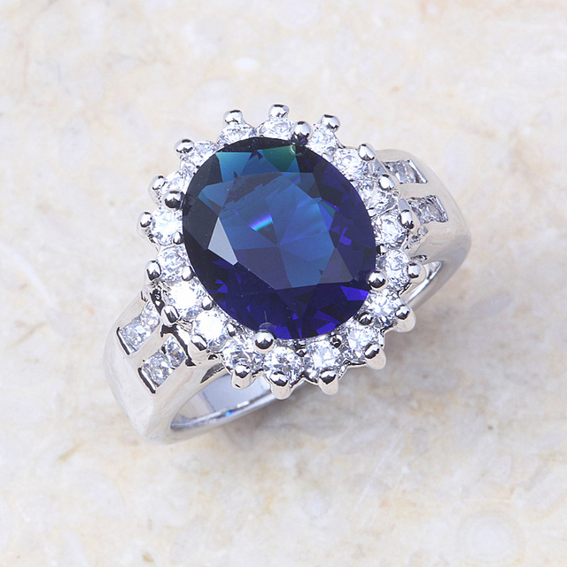 Silver Colour Copper Royal Blue Crystal CZ Stones Wedding Rings J445