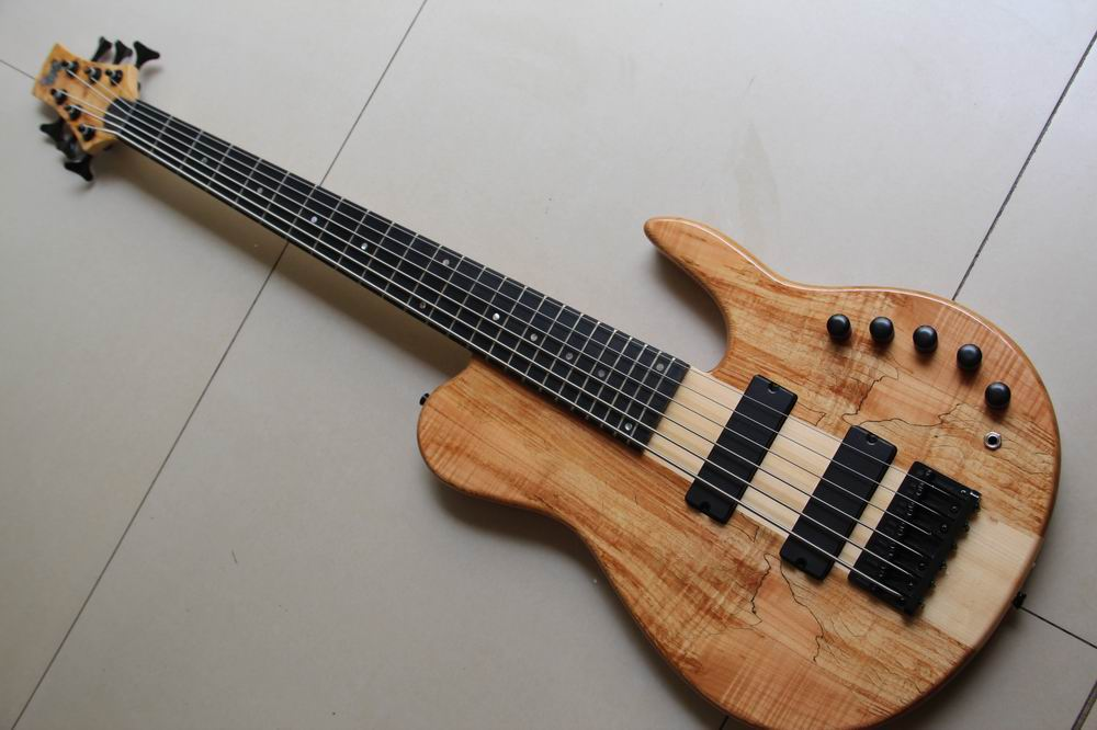 Wholesale Right Handed 6 String Electric Bass Guitar through neck 6 string bass guitar made of ash in natural wooden 130501 china custom fretless 4 string music man electric bass guitar in glossy black in stock