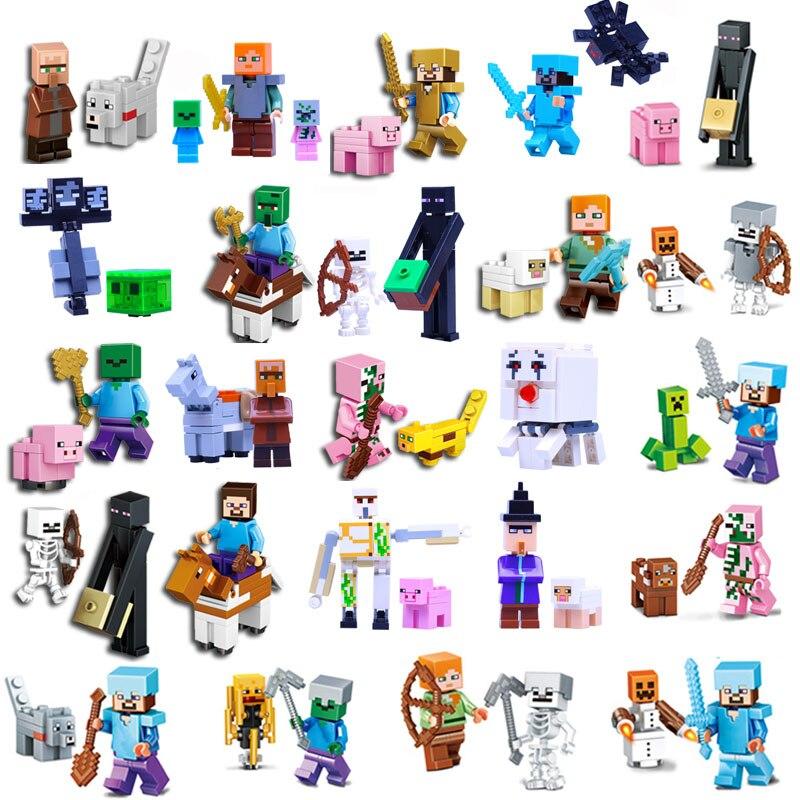HOT Minecrafted Steve Alex Zombie Enderman Reuben Skeleton Weapon Action Figures Toys Compatible With LegoINGlys Blocks