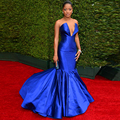 Sexy Royal Blue Celebrity Dress Evening Deep V Neck Mermaid Court Train Formal Dress vestidos famosos Red Carpet Dress