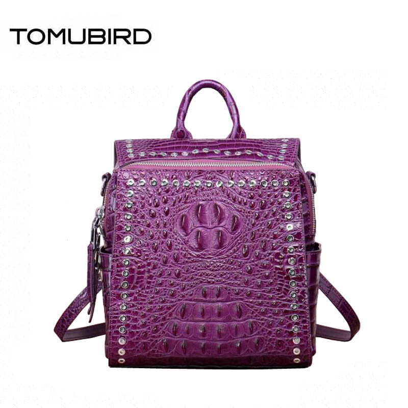 Women genuine Leather backpack superior cowhide bags for women 2018 Crocodile pattern fashion luxury backpack women bag designer fashion style women crocodile pattern doctor women backpack famous bags women s pu leather rucksack bag z762
